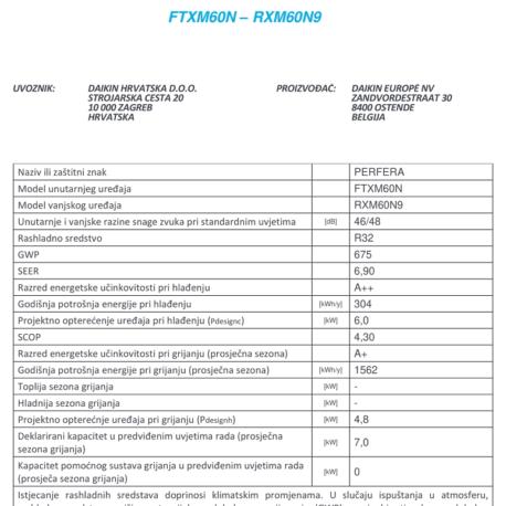 0105107 – DAIKIN PERFERA FTXM60M/RXM60M9 – 7