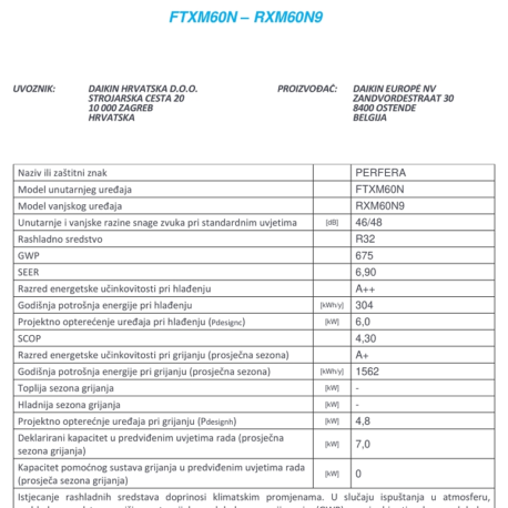 0105107 – DAIKIN PERFERA FTXM60M/RXM60M9 – 10