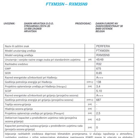 0105105 – DAIKIN PERFERA FTXM35M/RXM35M9 – 7